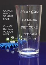 Personalised Engraved Pint mixer spirit TIA MARIA AND DIET COKE present glass 58