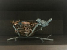 Wrought Iron Bird and Twig Nest Candle holder and Glass Insert