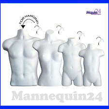 4 Pack Mannequin Torso Dress Body Form For Hanging Male Female Child Toddler Set