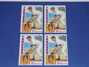 1984 Topps Baseball DON MATTINGLY Rookie Card #8 Lot of (4) New York Yankees