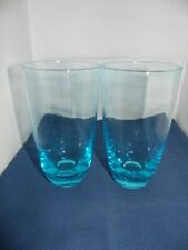 Blue Glass Drinking Glasses x 2