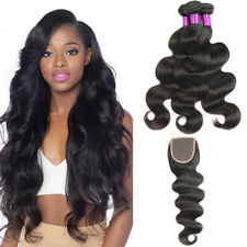 Peruvian Virgin Human Hair Body Wave With Lace Closure 3 Bundles With 4x4Closure