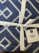 "New Pottery Barn Teen Essential Throw 46x56"" Navy White Geometric Print"