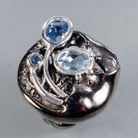 Blue Topaz Ring Silver 925 Sterling Handmade6x4mm Size 6 /SRT18-60-1