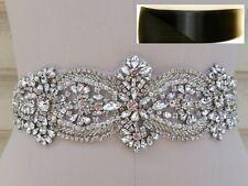 Wedding Belt - Crystal Pearl Wedding Sash Belt = in BLACK satin sash