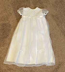 Vintage Baby Girl Easter Wedding Party White Long Dress Sz 6-9 Months