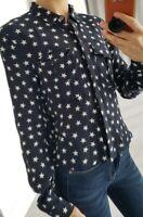 Superdry stunning star print shirt long sleeve button up size XS