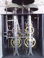ancien mouvement d'horloge comtoise 4 CLOCHES uhr clock 1er empire ? bell