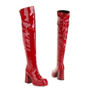 Women's Zipper Square Toe High Heel Over The Knee Thigh Knight Boots Sexy Shoes