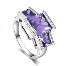 Elegant 925 Sterling Silver Purple Amethyst Wedding Engagement Ring Size: 9