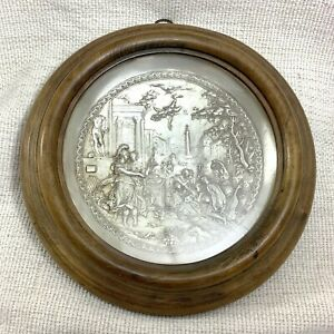 Antique Wall Plaque French Silver Plated Framed Neoclassical Greek Roman Scenery