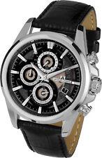 Jacques Lemans Men's Watch Stainless Steel Leather Strap Quartz 1-1847A