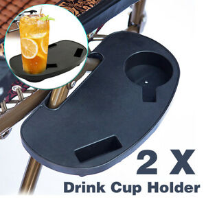 2X Folding Chair Side Tray Drink Cup Holder Camping Fishing Lounge Beach Chairs