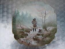 Plat porcelaine Paris décor chasseur chien d'époque fin 19ème