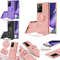 Samsung Galaxy Note 20 Ultra Case Glitter Rhinestone Bling Ring Stand Cover