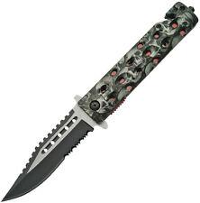 New China Made Folding Pocket Knife Skull Linerlock A/O Gray CN300325GY