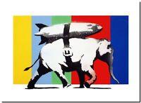 "BANKSY STREET ART CANVAS PRINT Elephant Heavy Weaponry 8""X 10"" stencil poster"