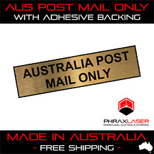 AUSTRALIA POST MAIL ONLY - GOLD SIGN - LABEL - PLAQUE w/ Adhesive 80mm x 20mm