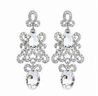 Chandelier Earrings Clear Rhinestone Crystal 2.8 inch