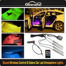 4xLED 5050 8 Color RGB Interior Light Neon Strip Lamp Kit Music Wireless Control