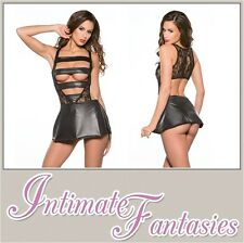 Black Lace & Wet Look Strappy Dress Dominatrix Cosplay Outfit Sexy Size 10 12 14