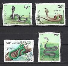 Animali Serpenti Laos (123) serie completa 4 francobolli timbrati
