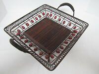 """Rattan & Metal 13"""" Square Serving Tray Basket Large w/Metal Handles"""