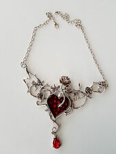 RED HEART, ROSES & THORNS NECKLACE PENDANT GOTHIC STEAM PUNK ON CHAIN GIFT