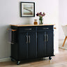 Wood Top Multi-Storage Cabinet Rolling Kitchen Island Table Cart w/Wheels, Black
