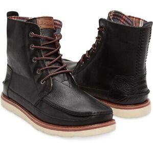 ✅ Toms SEARCHER BOOT Black Full Grain Leather Lace Up Boots Men's Shoes Size 10