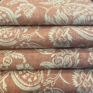 ❤️ 4 POTTERY BARN Alessandra Floral 50 x 108 Linen Lined Drape Curtain Panel Red