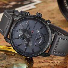 Curren Men's Gray Leather Black Dial Stainless Steel Sports Quartz Wrist Watch