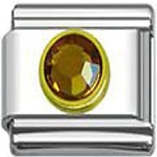 November Birthstone Italian Charm with Gold Tone Frame
