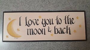 16 x 9 I Love You To The Moon And Back Sign Love Gift