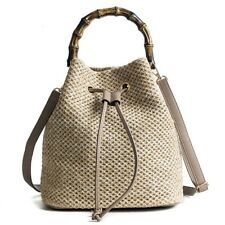 Straw Bucket Bag Bamboo Top Handle Women Beach Leather Drwastring Summer Handbag