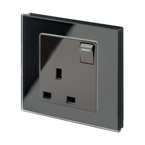 RetroTouch 1 Gang Single Switched 13A Plug Socket Black Glass PG 00170