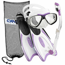 Cressi Palau Long Scuba Snorkeling Mask Fin Snorkel Set, (Made In Italy)