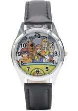 Scooby Doo Mystery Machine and Friends Black Genuine Leather Band Wrist Watch