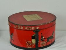 Vintage Dobbs Fifth Avenue Large Red Oval Hat Box 15x13.5x8 Partial Leather Strp