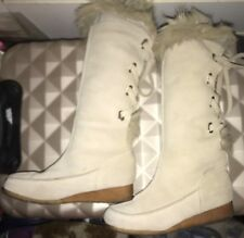 FAT FACE Beige Knee High Suede & Faux Fur Winter Boots With Lacing UK 4 - 4.5