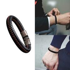 Mens Fashion Punk Leather Wrap Braided Wristband Cuff Bracelet Punk Bangle J4K0