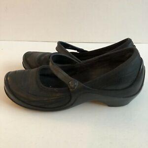 Crocs Mary Jane Wedge Heel Comfort Shoes Pumps Leather Black Womens Sz 9