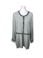 J.Jill Women's Size XL Floral Long Sleeve Tunic Top Button Down Abalone Black