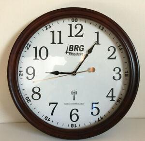 "BRG Precision Products Atomic Radio Controlled Clock Quartz Wood 16"""