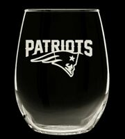 New England Patriots etched stemless wine glasses, set of 2! 20 oz