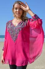 Large Women Hand Beaded Kaftan Caftan Top Free Size suitable upto size 16