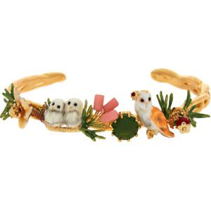 Les Néréides Owl cuff bracelet 14k gold plated size Large, RRP £170 - New other