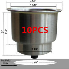 10PCS Brushed 316 Stainless Steel Cup Drink Holder For Marine Boat RV Car Truck