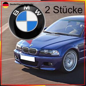 2X 82mm für BMW Emblem Motorhaube Heckklappe Kofferraum 1 3 5 6 7 Z X3 X5 X6