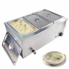 3 Pans Electric Bain Marie Buffet Heat Food Warmer Steam Table Steamer Catering